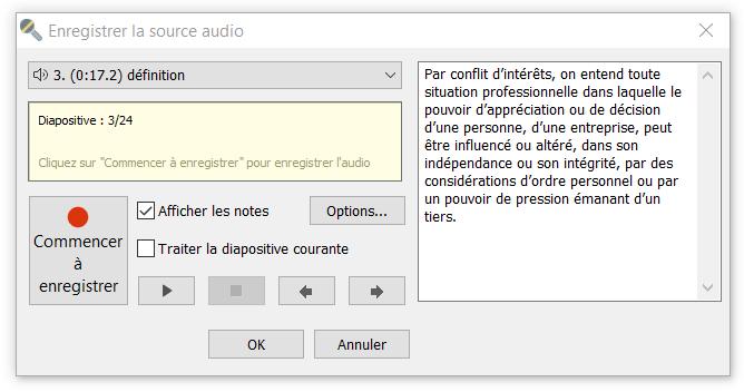 enregistrer audio dans ispring