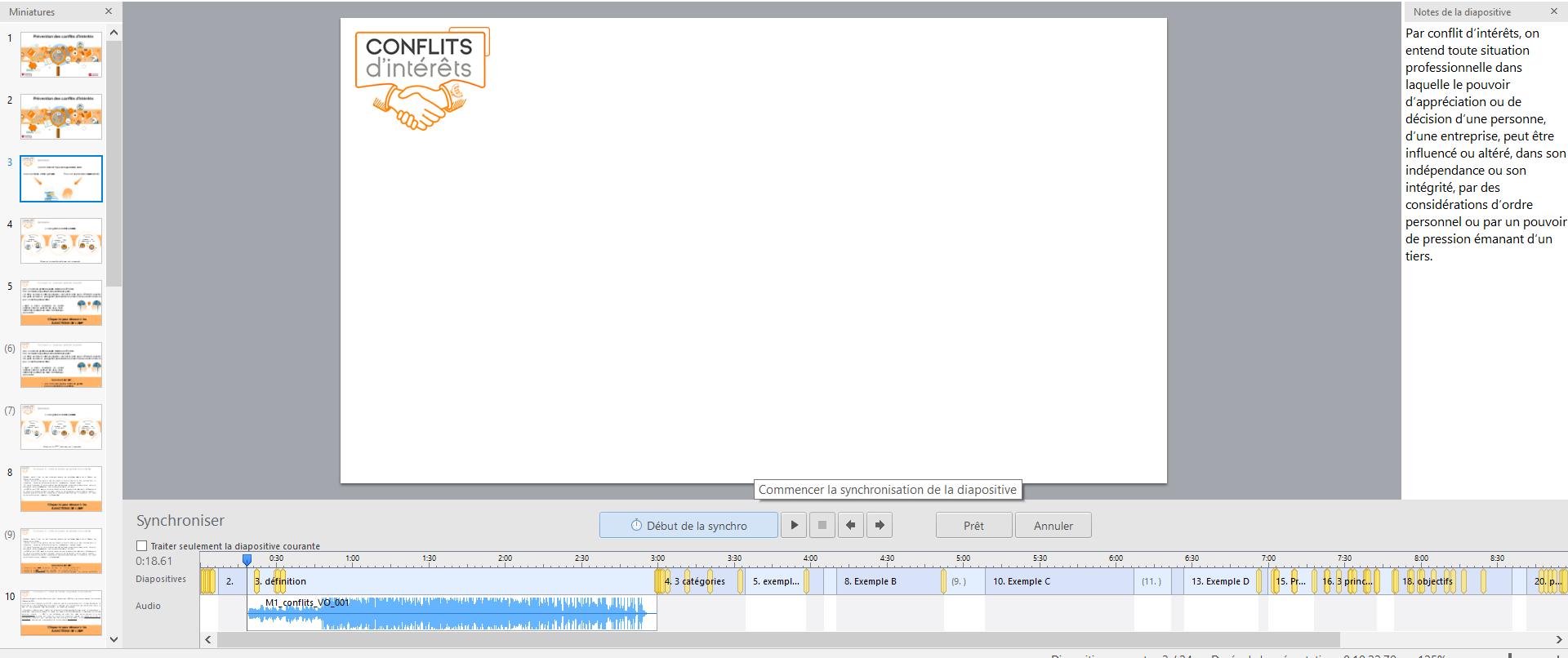 synchroniser audio animations