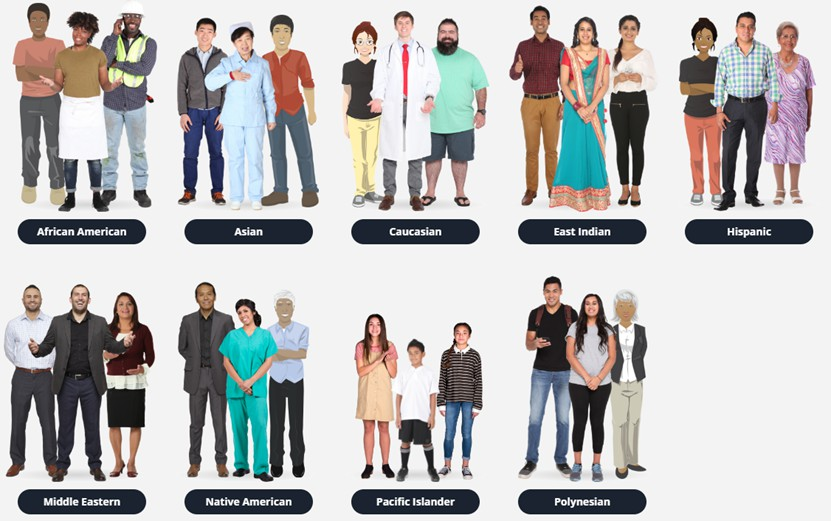 ELB personnages ethnicité