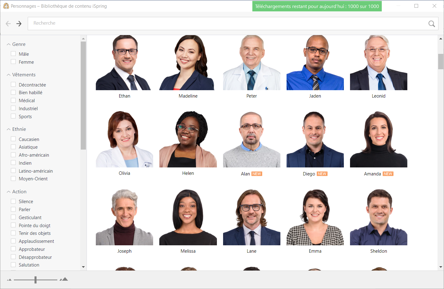 ispring bibliotheque personnages
