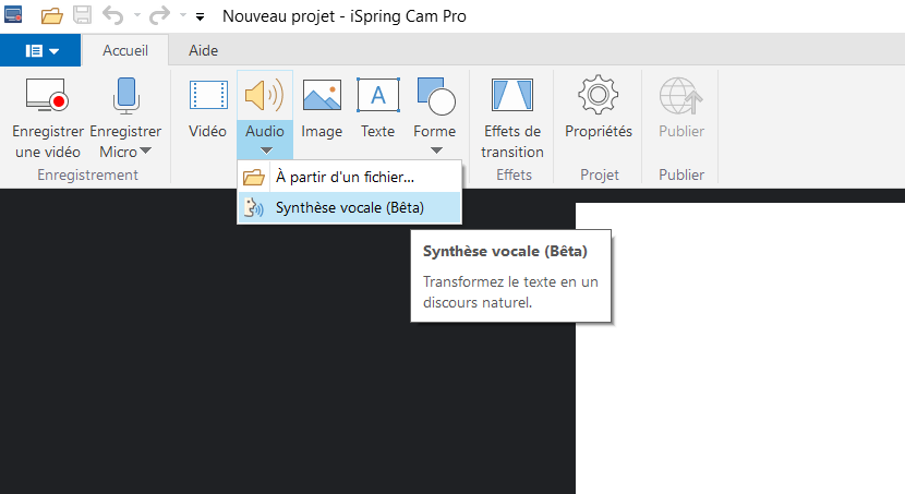 ispring cam synthese vocale