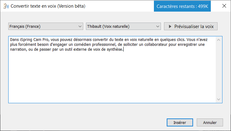 ispring cam synthese vocale convertir