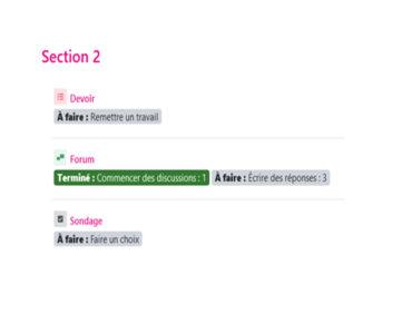 Infos Moodle 3.11 – Achèvement d'activité des étudiants
