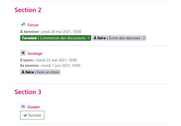 Infos Moodle 3.11 – Affichage des dates de l'activité