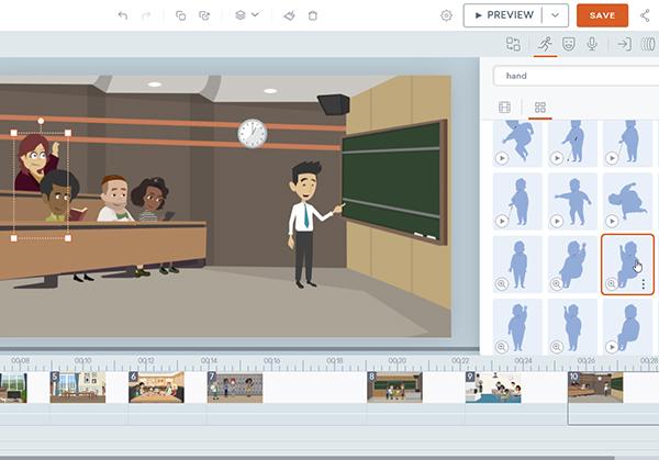Vyond : Personnalisez un personnage dans une scène vidéo préconçue