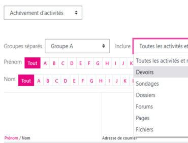 Infos Moodle 3.11 –  Rapport d'achèvement d'activités