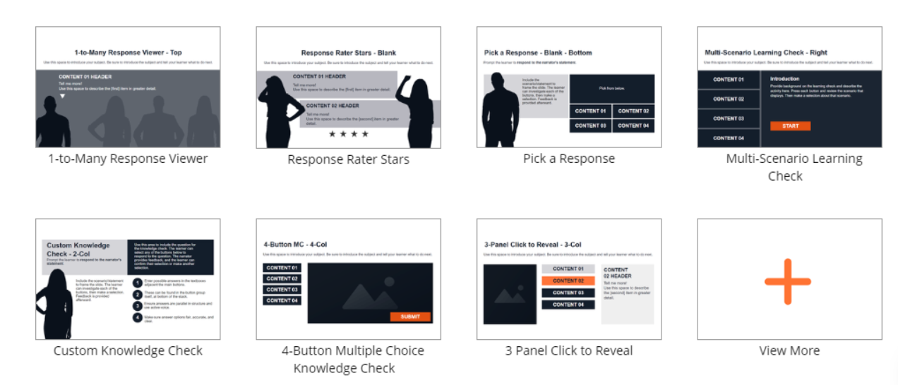 wireframe templates lectora