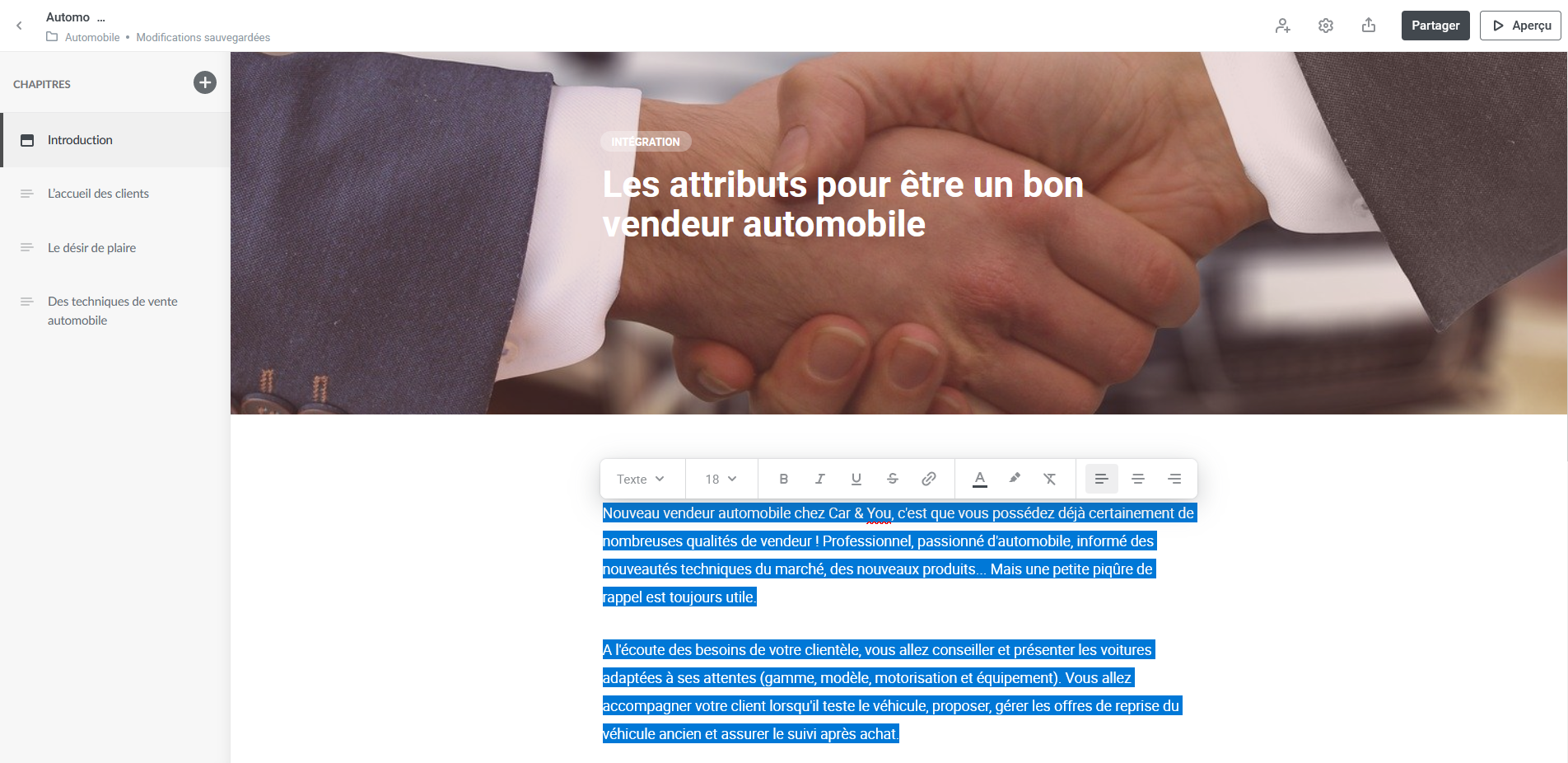 ispring space barre outils texte